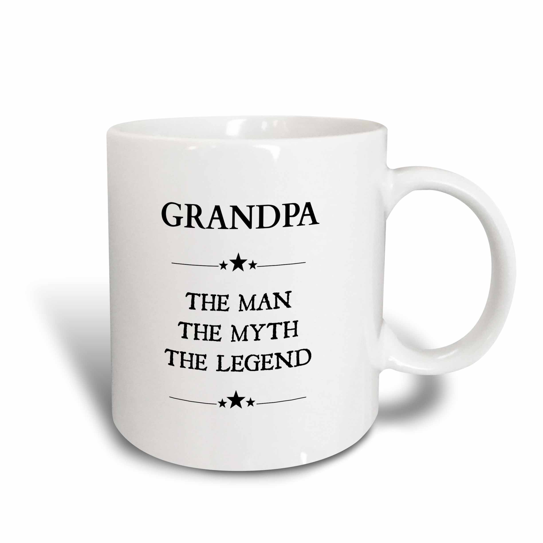 3dRose Grandpa the man the myth the legend, Ceramic Mug, 15-ounce by 3dRose