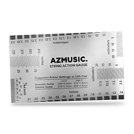 azmusic string action ruler gauge tool for accurate measurement of acoustic electric and bass. Black Bedroom Furniture Sets. Home Design Ideas