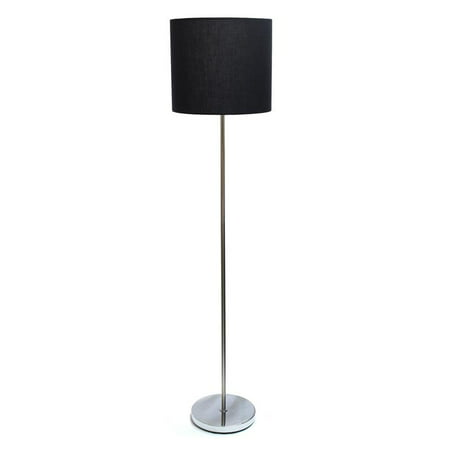 Simple Designs Brushed NIckel Drum Shade Floor Lamp, - Floor Nickel Floor Lamp