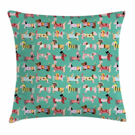 Dog Lover Throw Pillow Cushion Cover, Abstract Puppy Pattern with Human Clothing Fun Dress up Theme Domestic Animals, Decorative Square Accent Pillow Case, 16 X 16 Inches, Multicolor, by Ambesonne