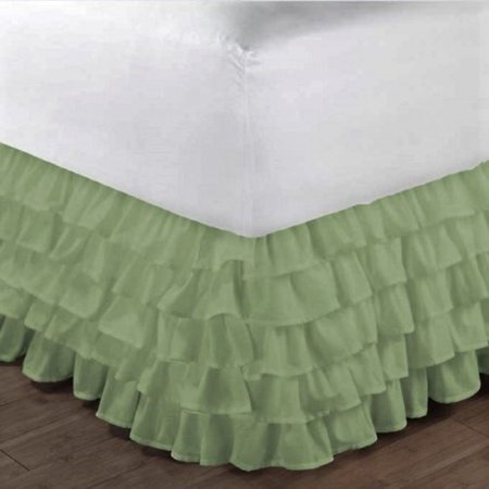 "Gypsy Queen Sage Ruffled Bed Skirt  Wrap Around Layered Solid Bed Dust Ruffle 20"" Inch Drop"