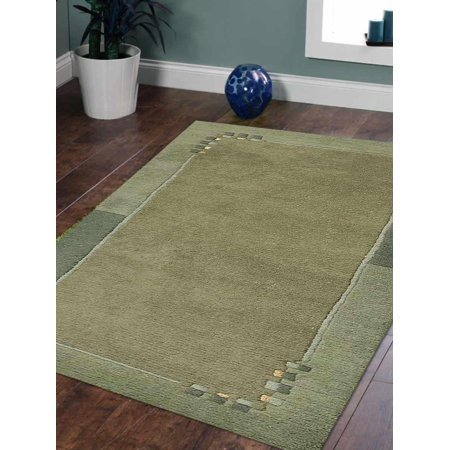 Rugsotic Carpets Hand Knotted Tibbati Wool 3'x5' Area Rug Contemporary Green T00205 Dark Green Contemporary Rug