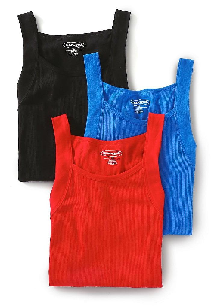 d0b3ba517491d8 papi - Papi 559102 Essentials 100% Cotton Square Neck Tank - 3 Pack -  Walmart.com