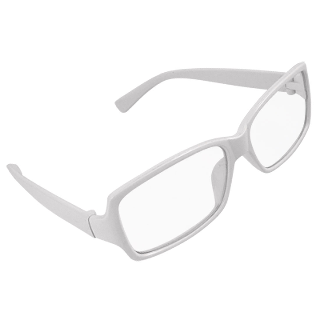 white plastic frame rectangle clear lens unisex glasses