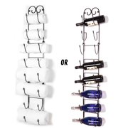 Useful. UH-TR221 wall mounted towel and wine bottle rack holder, holds 5 or 8 bottles