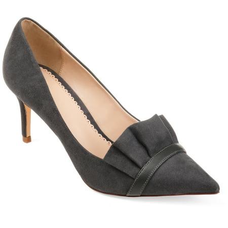 Skinny Pants Shoes - Brinley Co. Womens Faux Suede Pointed Toe Ruffle Skinny Heels