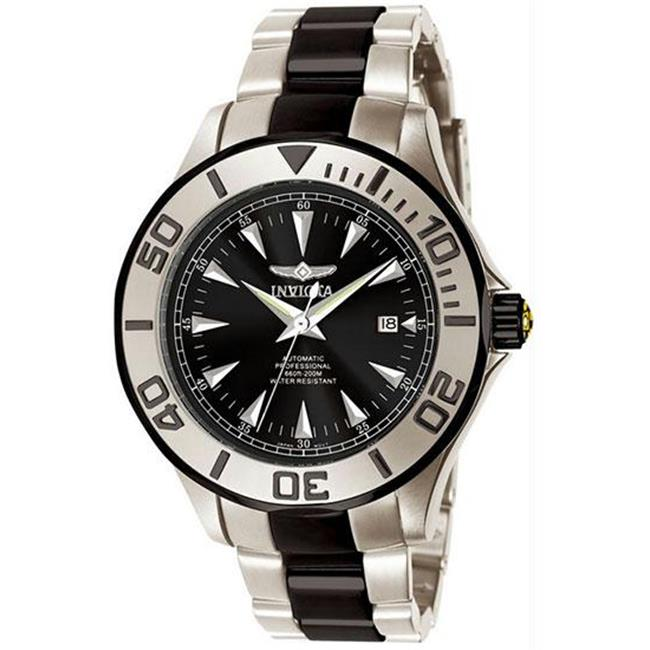 Men's Stainless Steel Pro Diver Automatic Black Dial Stripe - Watch