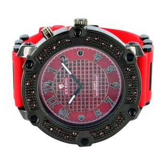 Red Lab Created Cubic Zirconia Watch Black Gold Finish Red Rubber Band Jojo Jojino Style Classy