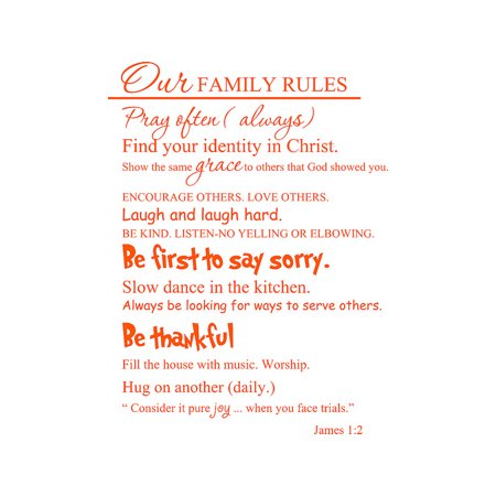 Orange 22 X 29 Our Family Rules Vinyl Wall Art Inspirational