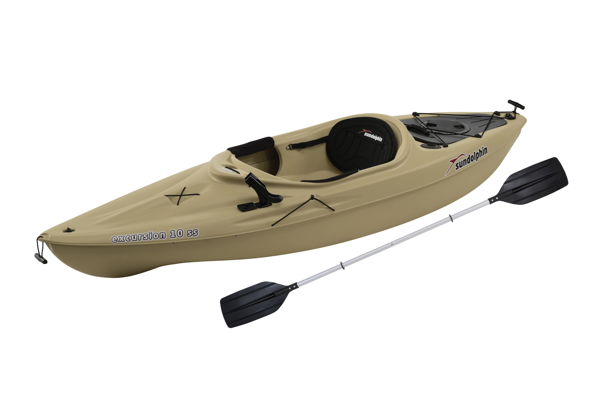 Sun Dolphin Excursion 10 SS Sit In Angler Kayak Olive, Paddle Included by KL Outdoor