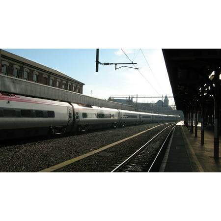 10 Station Speed Dial - Canvas Print Light Speed Tracks The Station Train Stretched Canvas 10 x 14