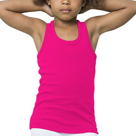 Basico Girl's Racer Back Tank Top 100% Cotton Sleeveless (old navy ladies tank tops)