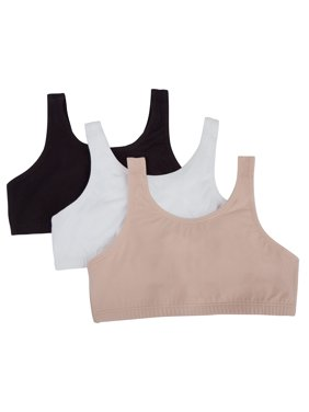Fruit of the Loom Girls Built Up Strap Cotton Sport Bra, 3 Pack (Little Girls & Big Girls)
