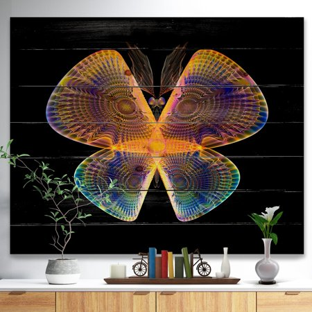 DESIGN ART Designart 'Blue Yellow Fractal Butterfly in Dark' Abstract Print on Natural Pine Wood ()