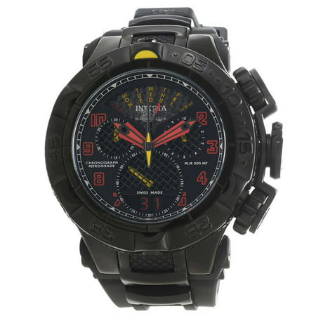 Mens Polyurethane Strap (20221 Men's Subaqua Noma V Red Accented Black Dial Steel and Polyurethane Strap Chrono Dive Watch )