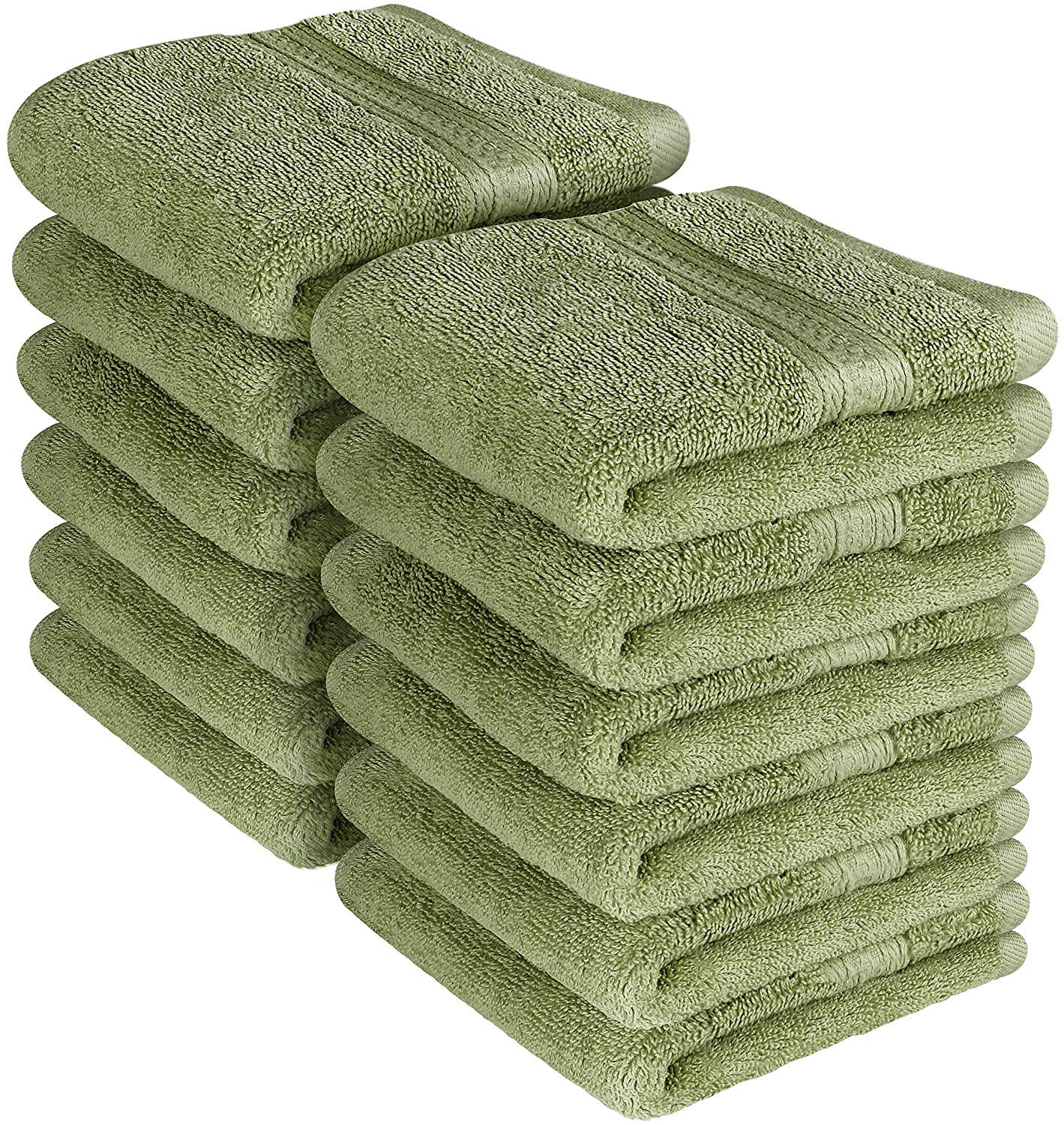 Premium 700 GSM Washcloths Towels Set 12 Pack, Sea Green, 12 x 12 Inches Multipurpose Extra Soft Fingertip... by Beauty Threadz