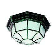TransGlobe Cambridge Verde Green Finish Flush Mount With A Frosted Shade