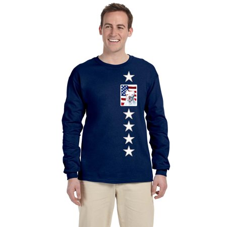 USA American Flag with Pit Bull Long Sleeve Blue Unisex Tshirt Adult Medium