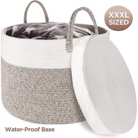 "Zannaki XXXL Extra Large Cotton Rope Basket with Water-Proof Base 22""x13.8"" Woven Baby Laundry Basket Storage with Long Handles for Blankets Toys Storage Basket 