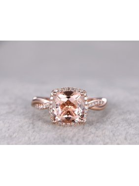 2.5 Carat Cushion cut Real Morganite and Diamond Engagement Ring in 18k Gold Over Sterling Silver