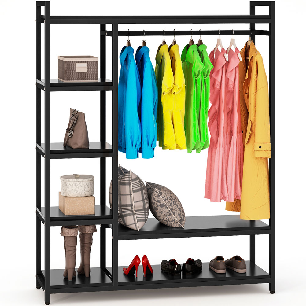 free standing closet organizer tribesigns heavy duty clothes closet portable garment rack with. Black Bedroom Furniture Sets. Home Design Ideas