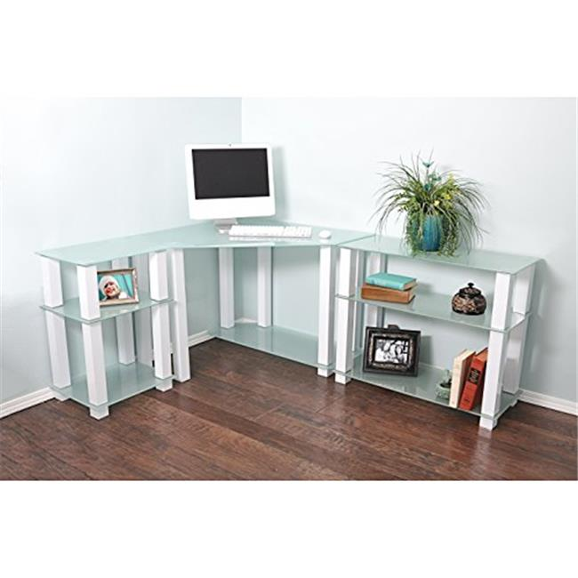 RTA Home & Office CT-013125W Frosted Tempered Glass Gloss White Corner Computer Desk with Left & Right Extention Table