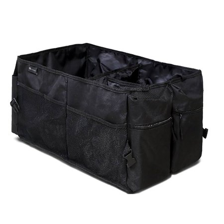 Zone Tech Classic Black Multi Compartment Collapsible Heavy Duty Rugged Pack Fabric Cargo Storage Trunk Backseat (Cargo Store)