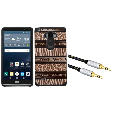 insten zebra hybrid case for lg g stylo brown black with aux auxiliary audio stereo. Black Bedroom Furniture Sets. Home Design Ideas