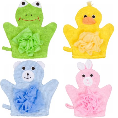 Hand Puppet Wash Bath Mitt Towel with Sponge and Scrunchie Puff Scrub Mesh for Bathing Showering with Animal Designs for Children by Made Easy Kit