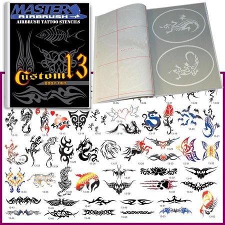 SET 13 BOOK 53 Reusable Airbrush Temporary Tattoo Stencil Art Designs Template