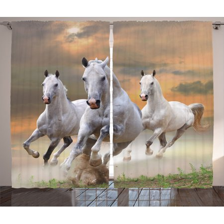 Animal Decor Curtains 2 Panels Set, Stallion Horses Running On A Mystical Sky Background Equestrian Male Champions Print, Living Room Bedroom Accessories, By