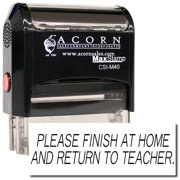 Large Self-Inking Please Finish At Home And Return To Teacher Stamp with Orange Ink