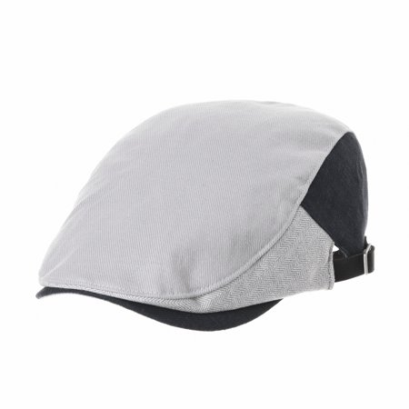 5769def3b46 WITHMOONS Linen Two Color Block Neutral Newsboy Hat Flat Cap AC3672 (Grey)  - Walmart.com
