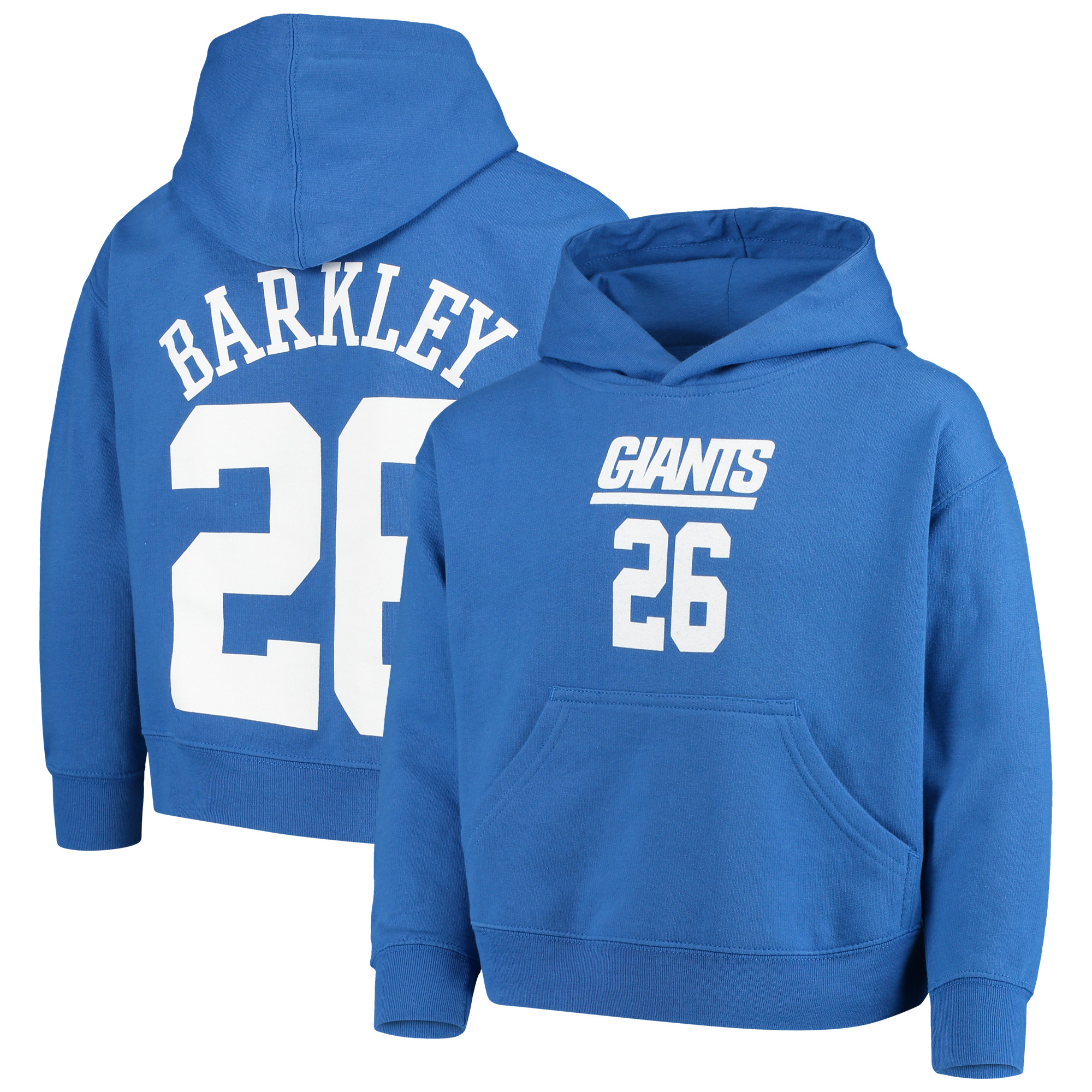 Saquon Barkley New York Giants Youth Mainliner Player Name & Number Fleece Pullover Hoodie - Royal