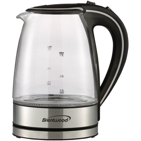 Brentwood Appliances KT-1900BK Tempered Glass Tea Kettles, 1.7-Liter, Black