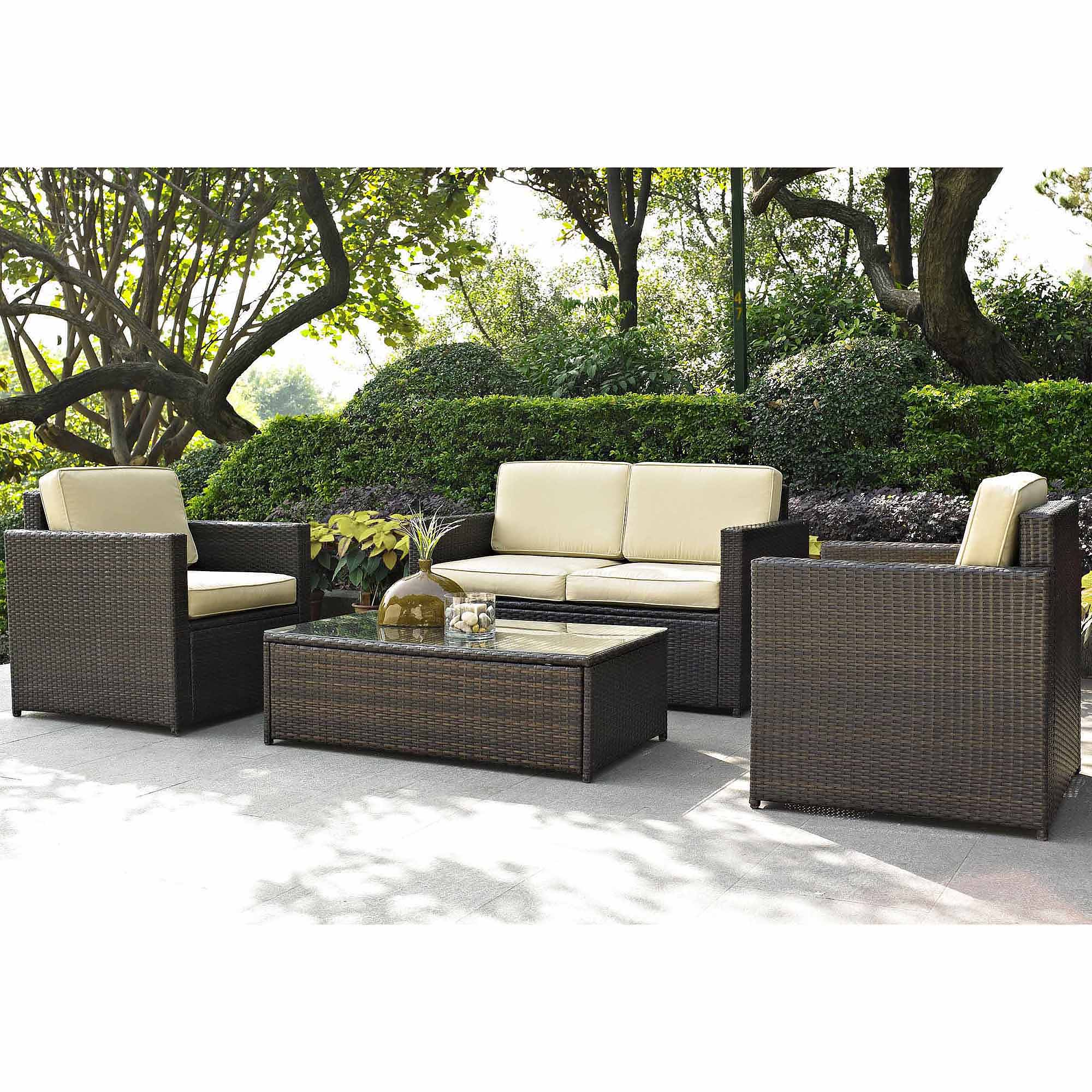 patio couch set crosley furniture palm harbor  piece outdoor wicker seating set walmartcom
