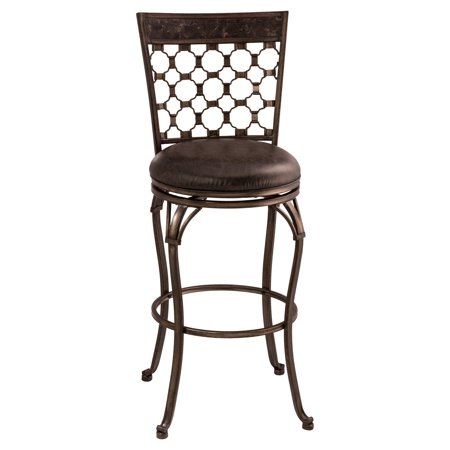 Brescello Swivel Bar Stool, Antique Pewter, Charcoal Pu Finish, Faux Leather