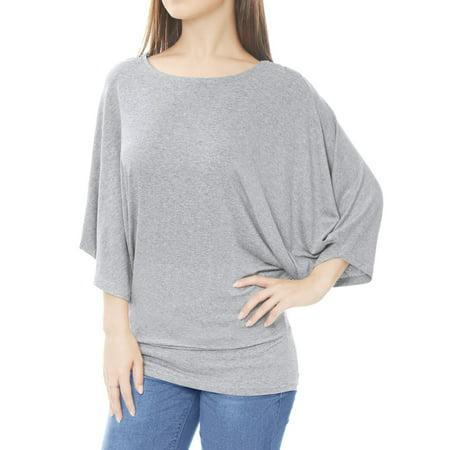 Women's Casual Dolman Sleeve Oversize Tunic Tops Blouse Shirt Gray XS (US 2) Dolman Sleeve Cotton