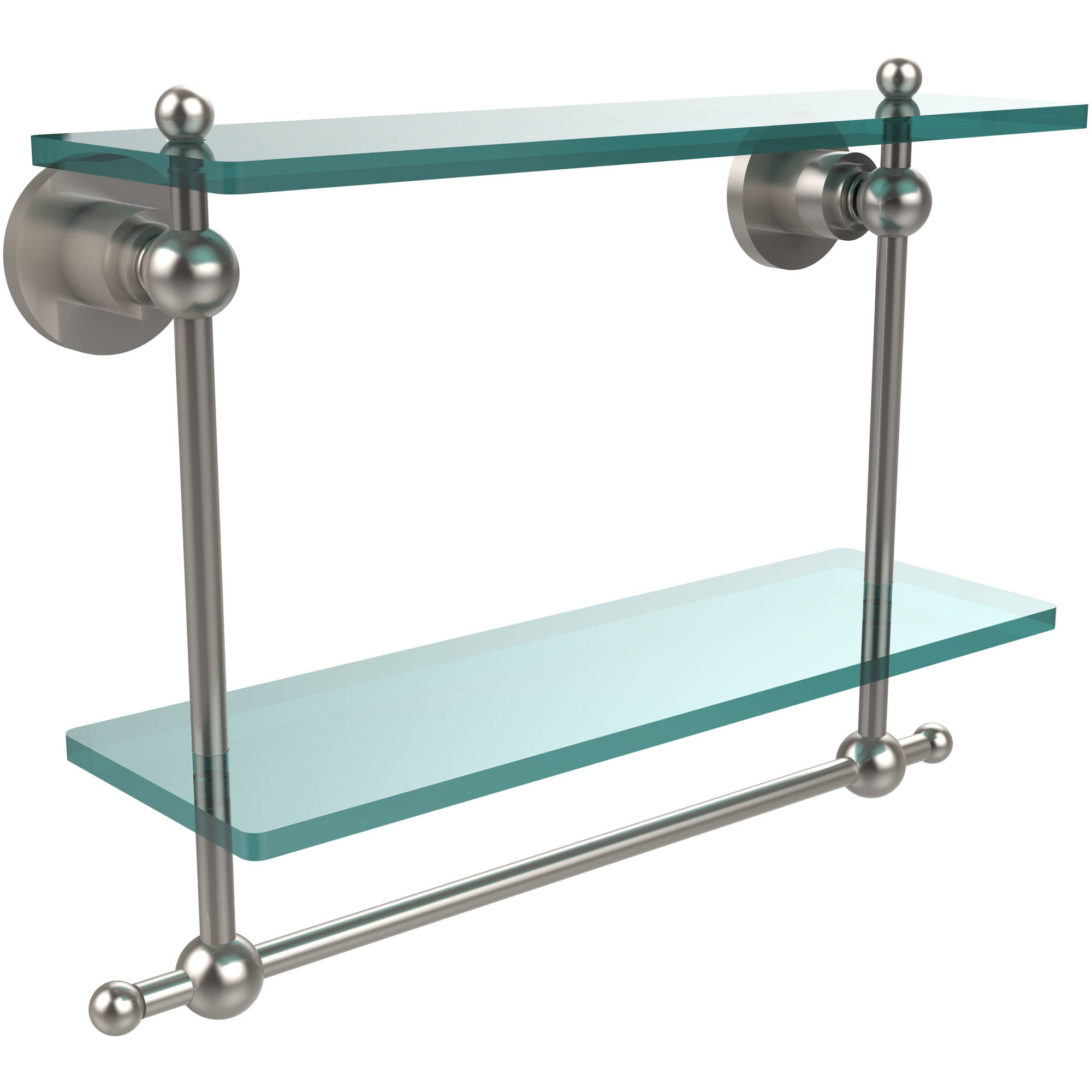 "Astor Place Collection 16"" 2-Tiered Glass Shelf with Integrated Towel Bar (Build to Order)"