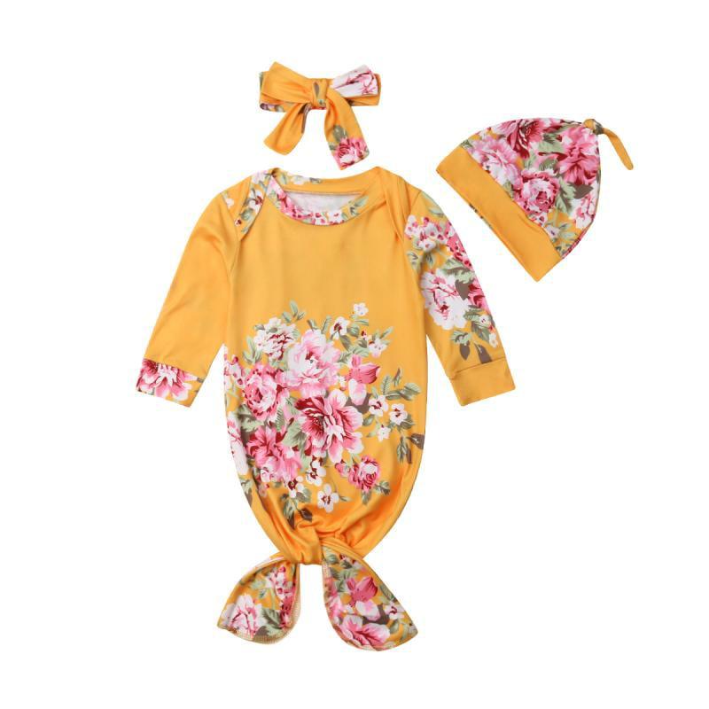 Cute 3Pcs Floral Swaddle Wrap Blanket Baby Sleeping Bag Sleepsack Headband Hat Set