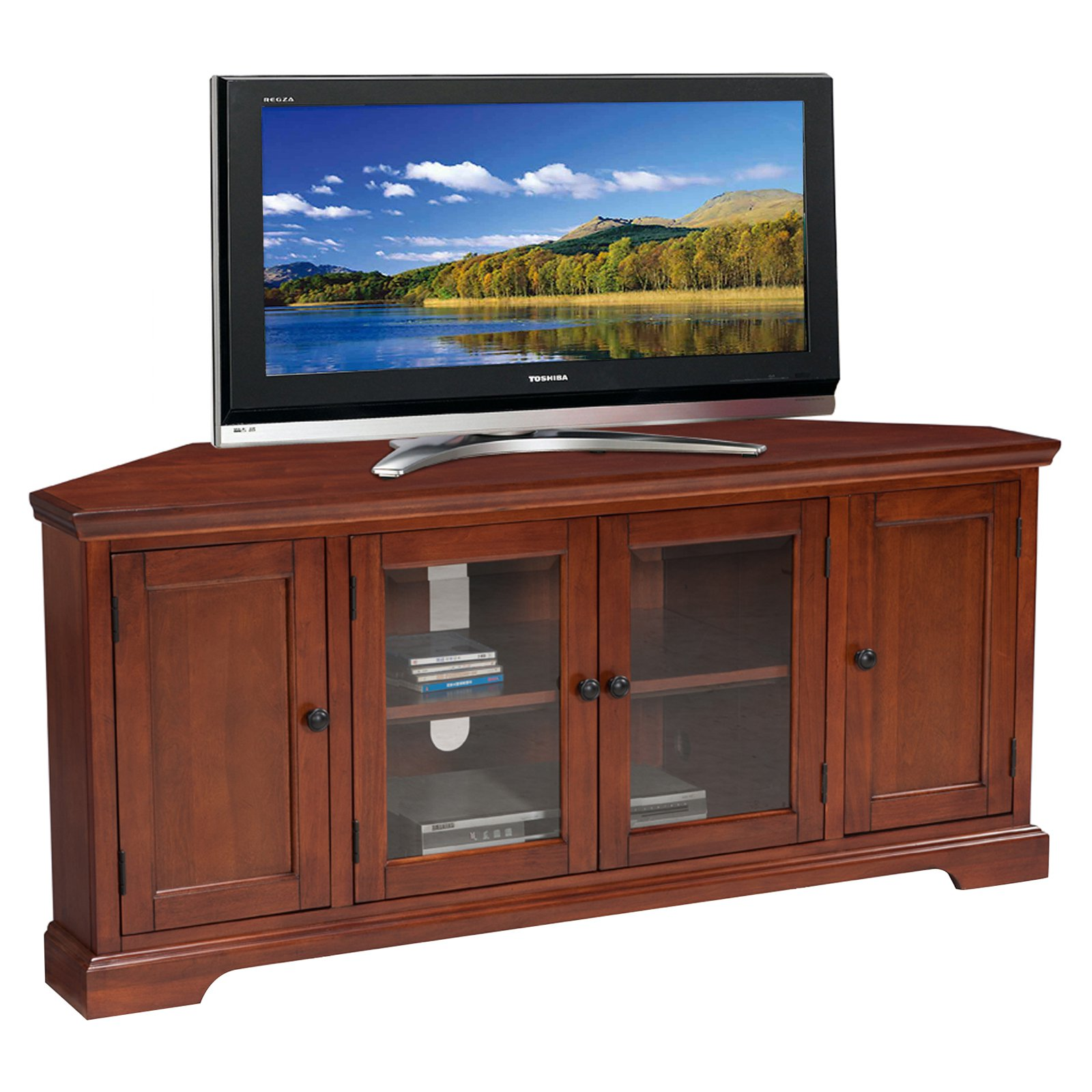 Leick Home Riley Holliday 60 In Corner Tv Stand Westwood Cherry