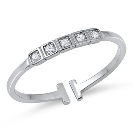 Cubic Zirconia Headband Designer Ring Sterling Silver