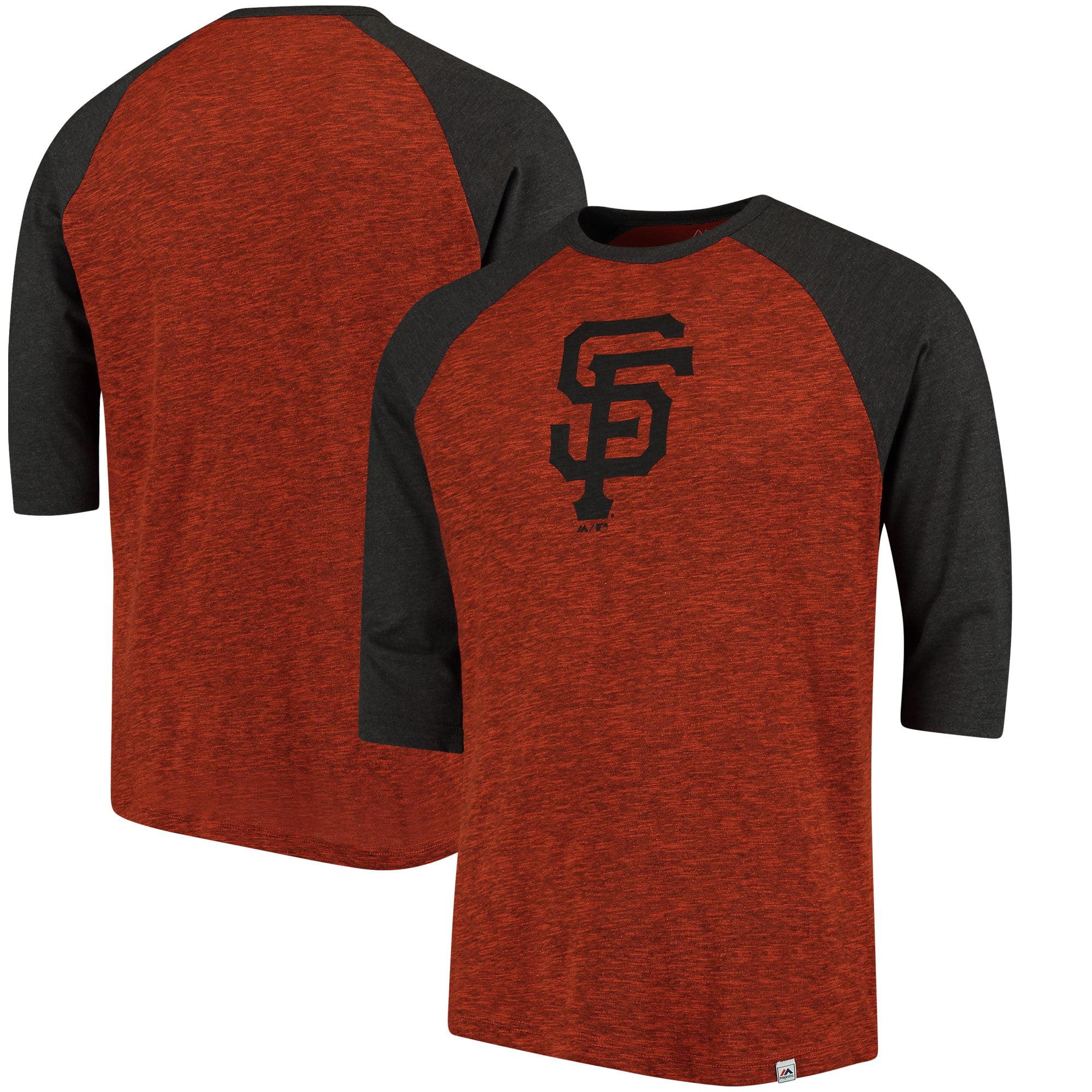 San Francisco Giants Majestic Grueling Ordeal 3/4-Sleeve Raglan T-Shirt - Orange