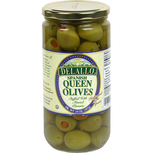 Delallo Stuffed Queen Olives, 14 oz (Pack of 6)