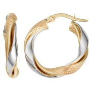 Fremada  10k Two-tone Gold Twisted High Polish and Textured Hoop Earrings