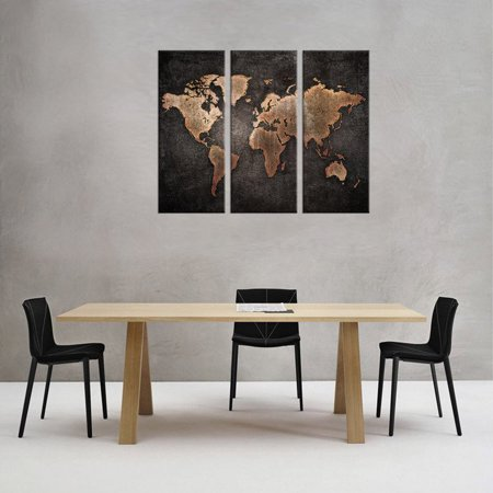 3 Pcs/Set Modern Abstract Wall Art Painting World Map Canvas Painting Educational Modern Abstract Canvas, handpaintedpicture 3 Pcs World Map Picture Print, Wall Art Home Decor (No Frame) ()