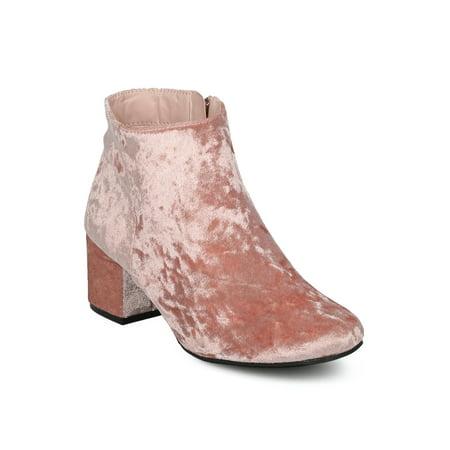 New Women Wenona-01 Metallic Leatherette Round Toe Low Chunky Heel
