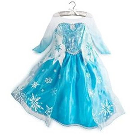 Queen Elsa Snow Snowflake Dress Costume Cosplay, Turquoise, 130, (4T-5T) by Rush - Snow Coming Dresses