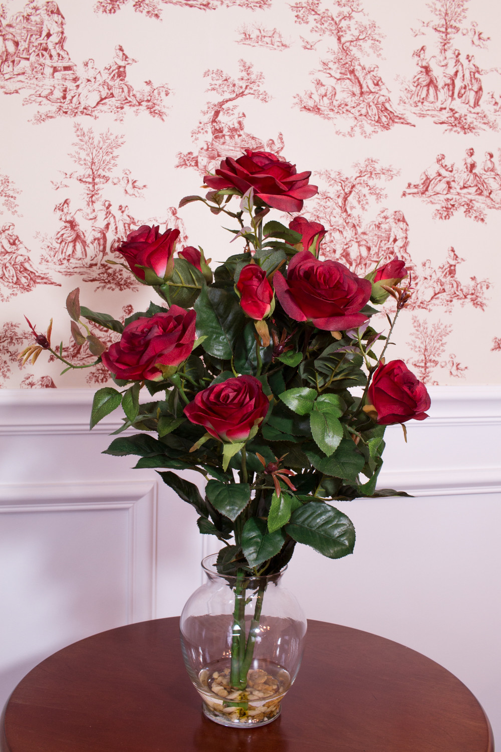 Rose Bush Silk Flower Arrangement With Vase Red Walmart
