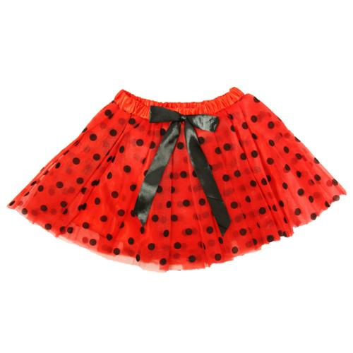 Little Girls Red Black Polka Dots Satin Elastic Waist Ballet Tutu Skirt 2-8Y